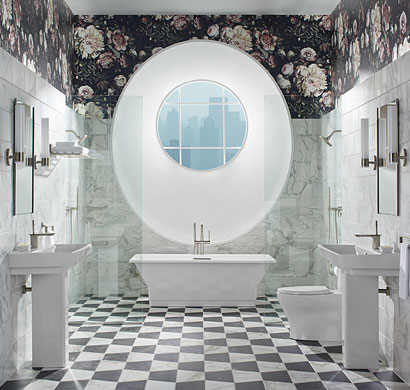 dark floral bathroom design, kohler, pacific sales