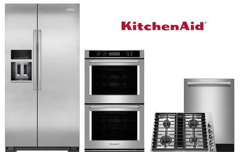 Refrigerator, dishwasher, double wall oven and cooktop